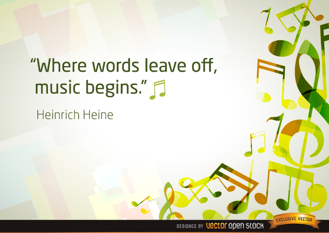 Free Musical notes background with quote