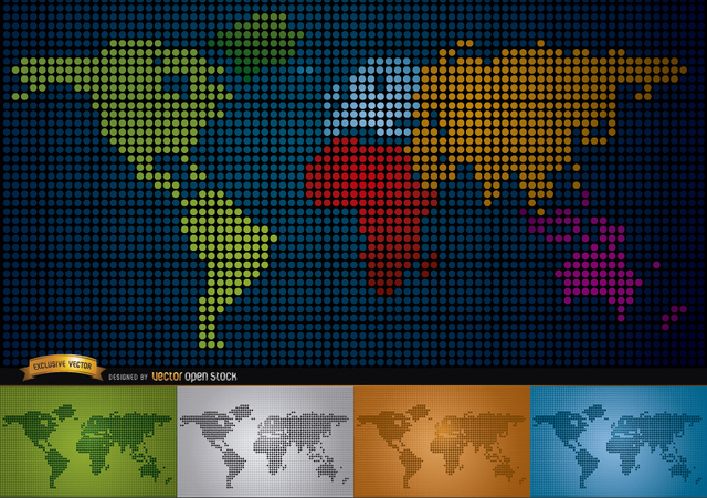 Free Digital map of world with continents