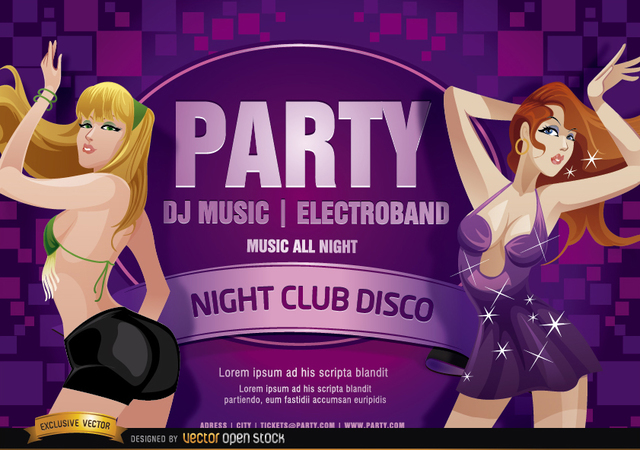 Free Nightclub disco party girls flyer