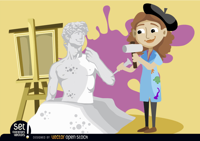 Free Vectors: Artist woman sculpting statue | Vector Open Stock