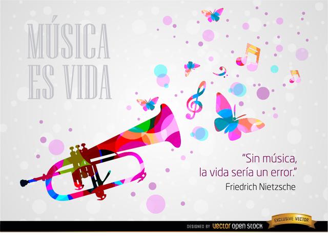 Free Música y vida frase Nietzsche fondo