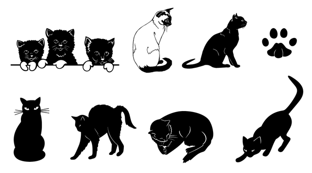 Free Black & White Silhouette Cat Set
