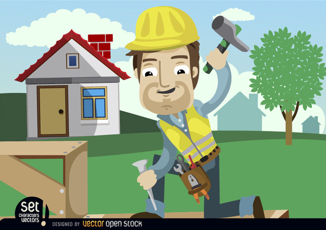 Free Construction Worker hammering chisel