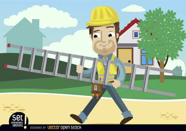 Free Contruction Worker Cartoon carrying ladder