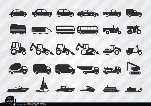 Free Vehicles and ships silhouettes icon set