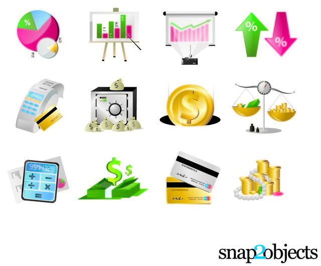 Free Vectors: Beautiful Financial Icon Set | Snap 2 Objects