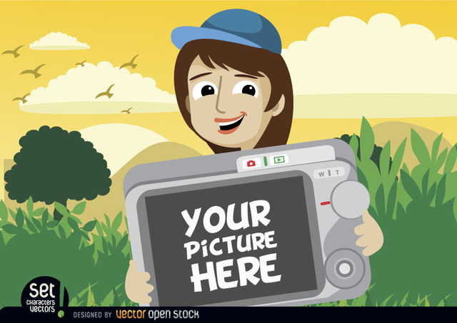 Free Cartoon girl showing photo in camera