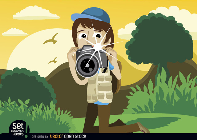 Free Vectors: Photographer snapshot in landscape | Vector Open Stock