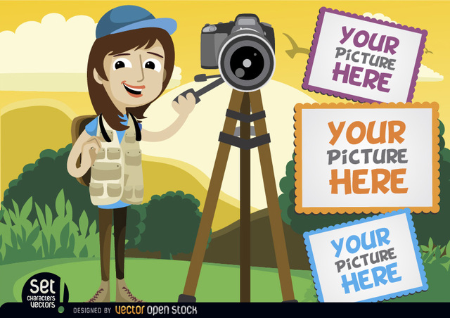 Free Photographer with camera and picture frames