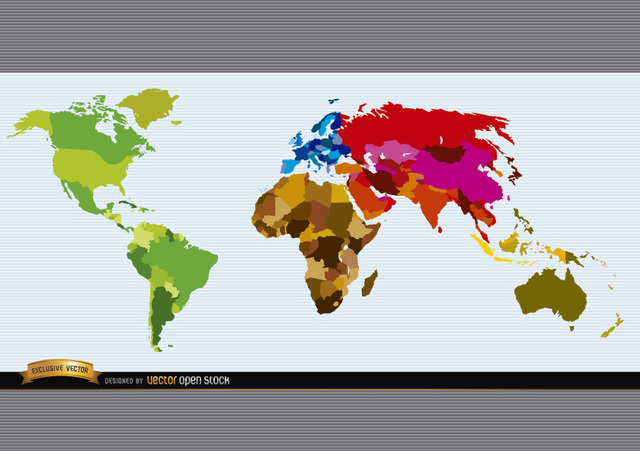 Free Political world map colored