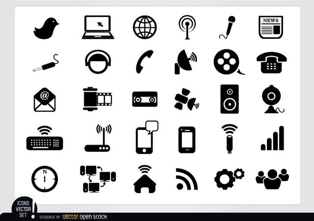 Free Vectors: Multimedia Flat Icon Pack | Vector Open Stock