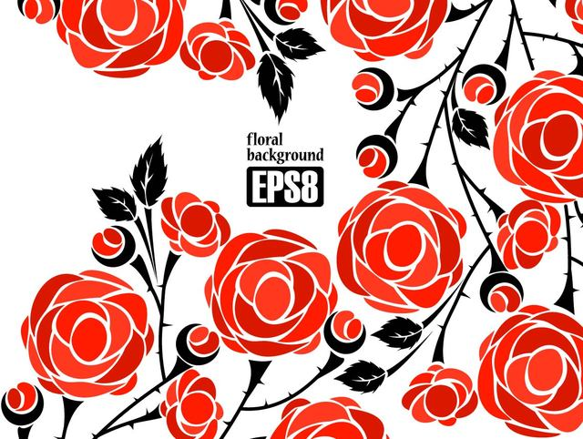 Free Simplistic Flower Background with Red Roses
