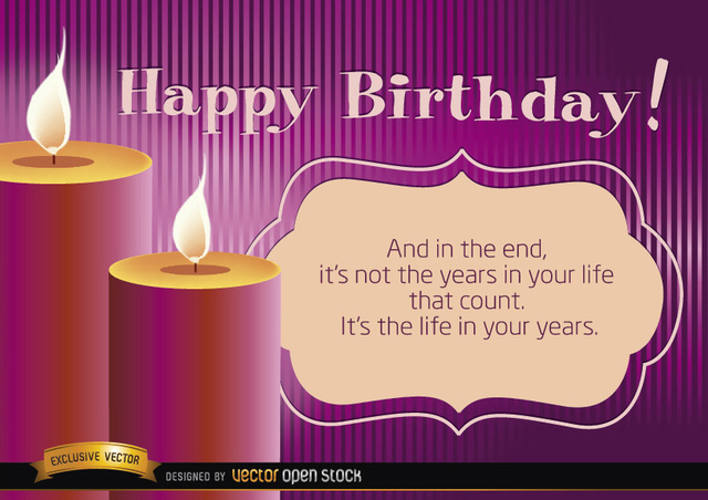 Free Vectors Happy Birthday Candles With Life Message