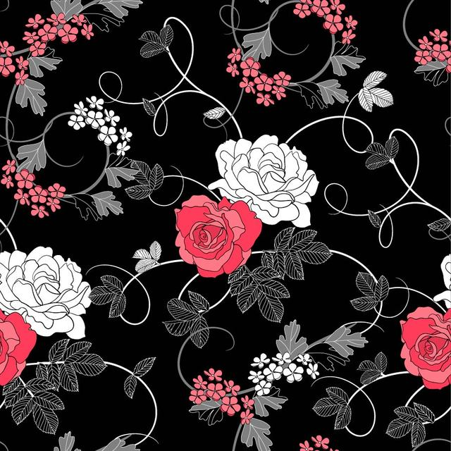 Free Seamless Retro Rose Pattern Black Background