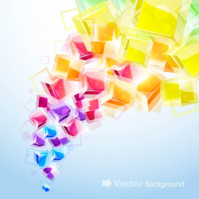 Free Colorful Background with Fluorescent Cubes