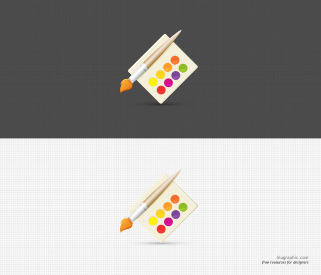 Free Vectors: Watercolor Palette with Paint Brush | Blu Graphic