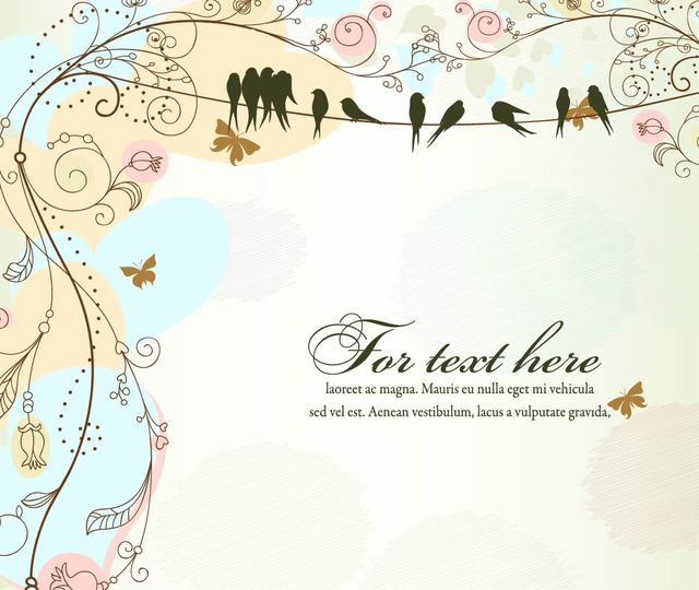 Free Funky Antique Floral Template with Birds