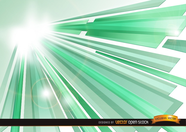 Free Vectors: Green Crystal Sun Beams background | Vector Open Stock