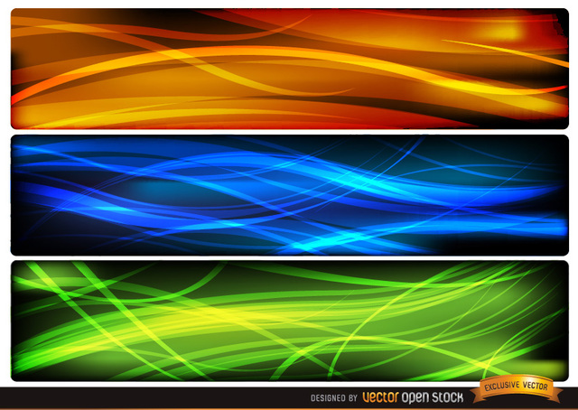 Free Abstract wave headers orange blue green