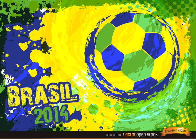 Free Brazil 2014 Blue green yellow football Background