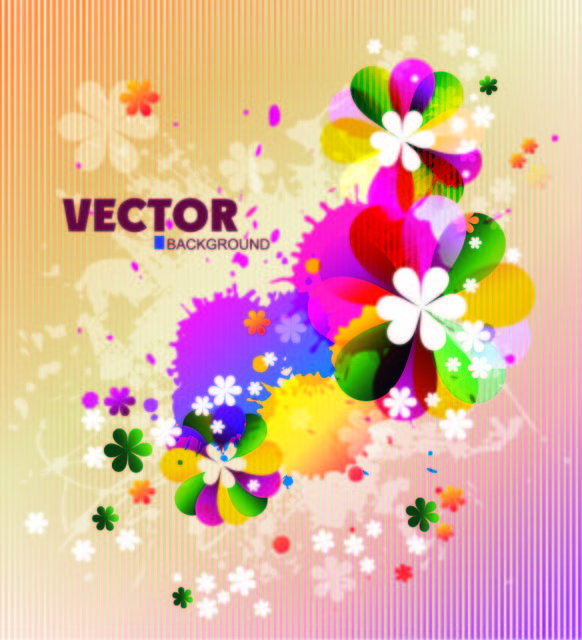 Free Colorful Spring Floral Background with Splats