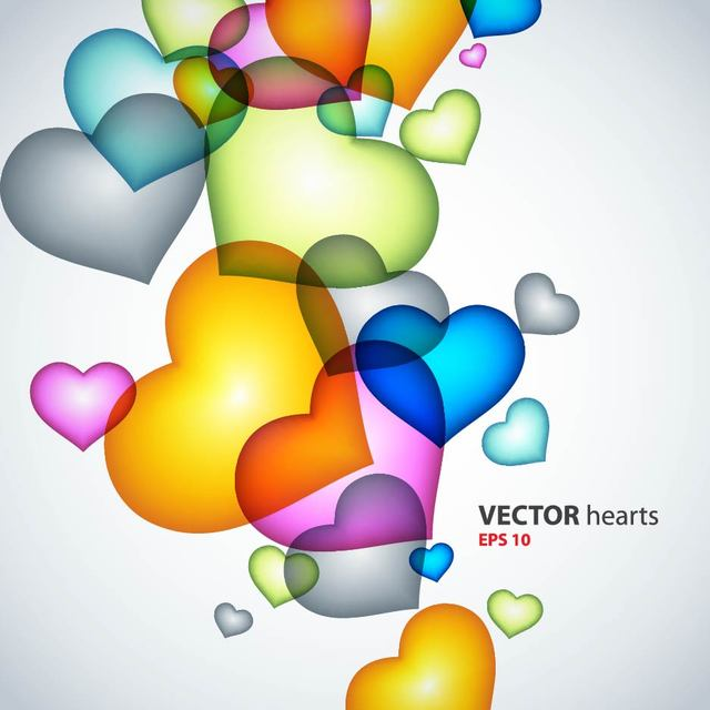 Free Fluorescent Colorful Heart Background