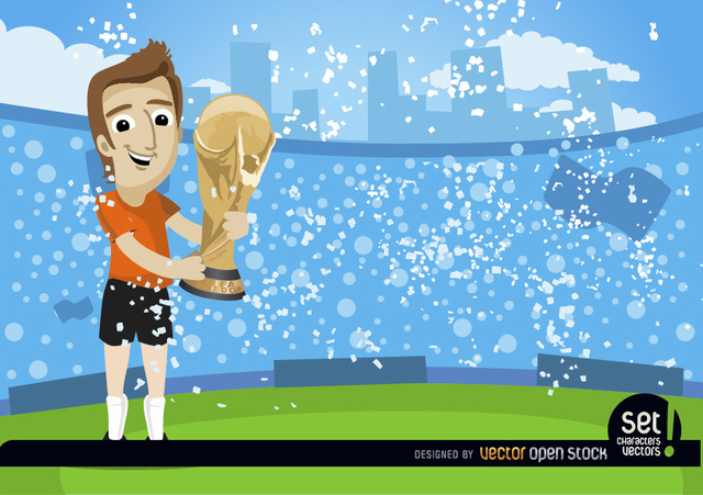 Free Footballer with FIFA World Cup Trophy