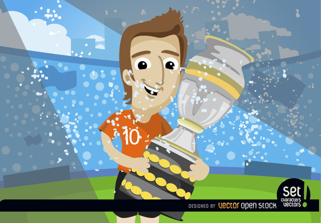 Free Footballer with soccer cup trophy