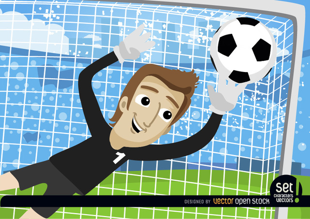 Free Cartoon Goalkeeper stops football