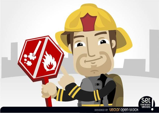 Free Fireman pointing burning risk sign