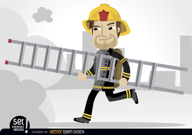 Free Fireman running with rescue ladder