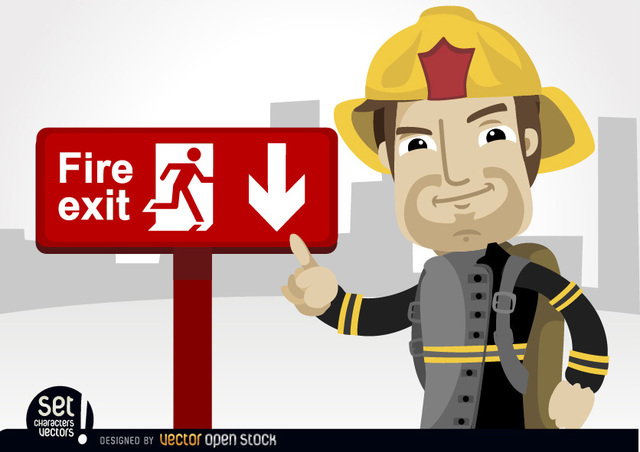 Free Fireman pointing fire exit sign