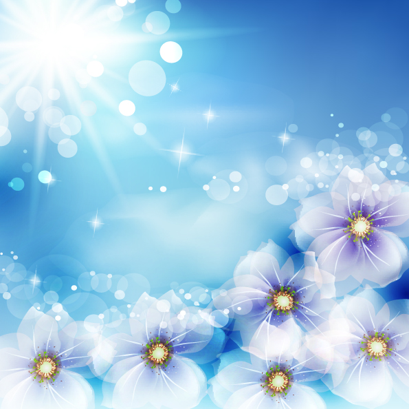 Free Shiny Background with Fantasy Flowers and Sun Glares
