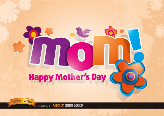 Free Mom logo with Flowers in Mother's day