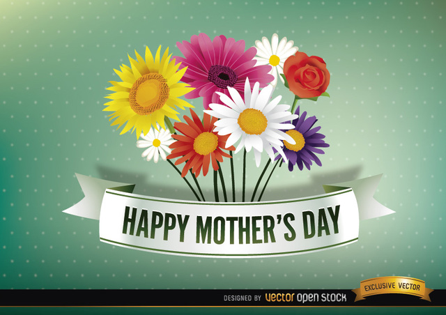 Free Happy Mother's day ribbon with daisies