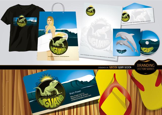 Free Iguana branding beach theme