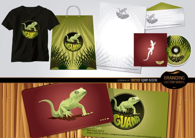 Free Vectors: Iguana branding Set with Stationary Template | Vector Open Stock