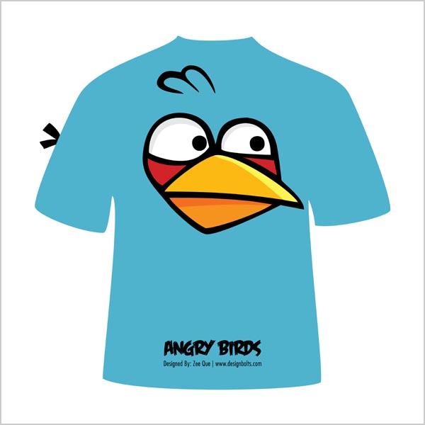 Free Vectors: Blue Angry Bird T-Shirt | Design Bolts