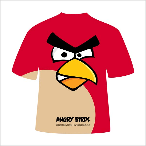 Free Red Angry Bird Avian Missile T-Shirt Design