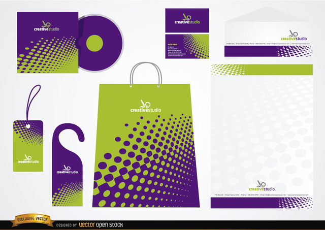 Free Green Purple Stationery packaging design