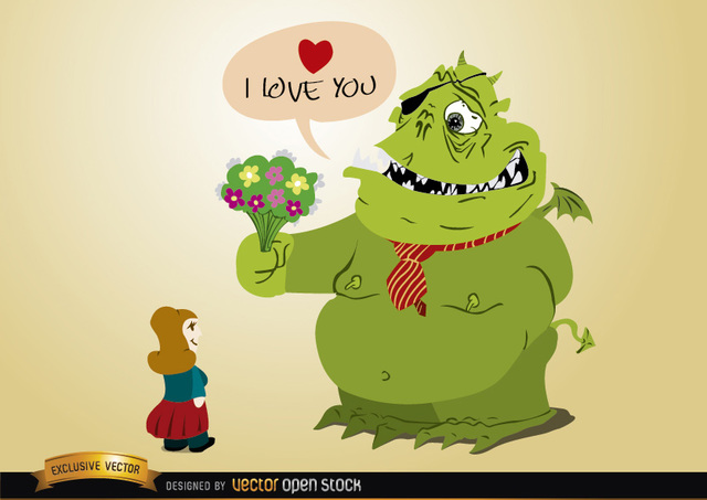 Free Monster love with flowers for girl