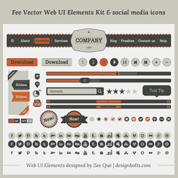 Free Vintage UI Kit and Social Media Icons