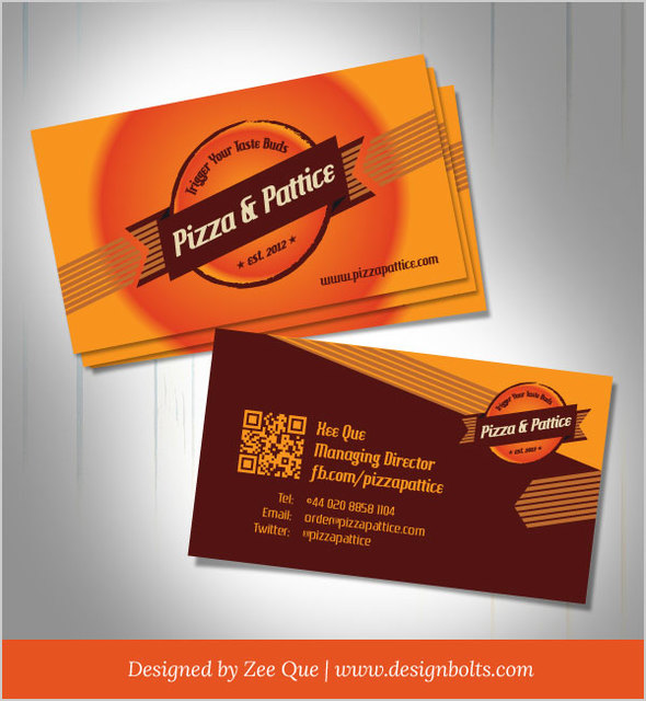 Free Pizza & Pattice Fast Food Business Card
