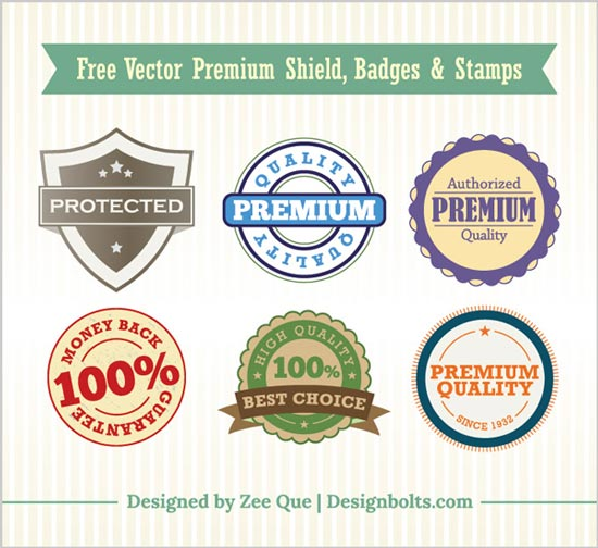 Free Vintage Premium Shield Badges & Stamps