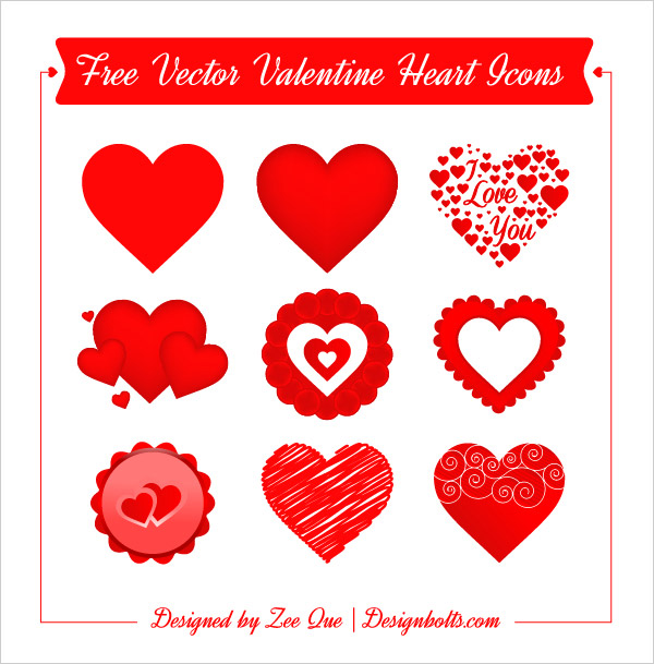 Free Valentine Heart Icon Set