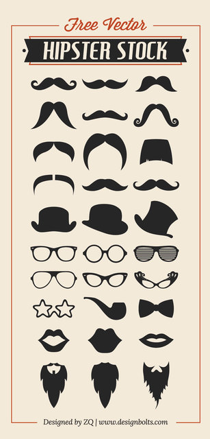 Free Cool Hipster Set Silhouette