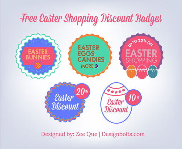 Free Vintage Easter Discount Badge Set