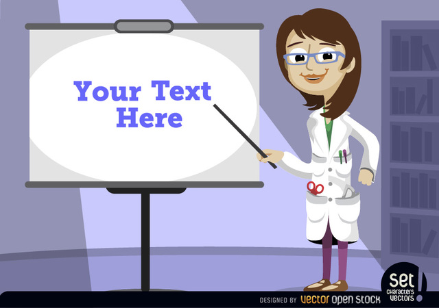 Free Female professor pointing presentation screen