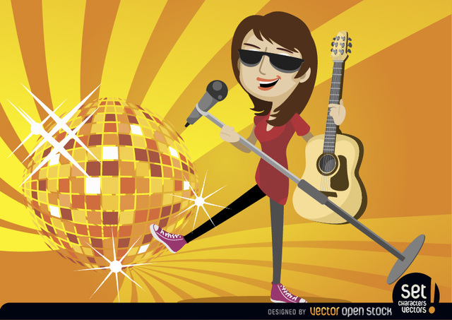Free Vectors: Female singer guitarist with disco ball | Vector Open Stock