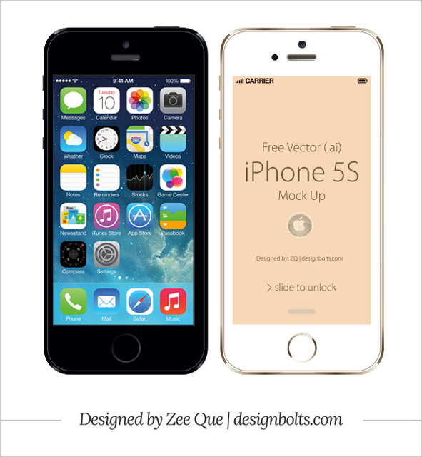 Free Apple iPhone 5S Front Mockup